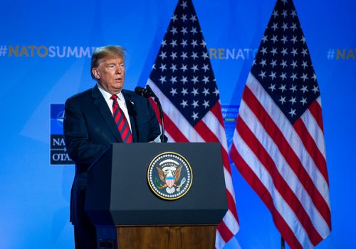 President Donald Trump at the NATO Summit in Brussels, July 12, 2018.