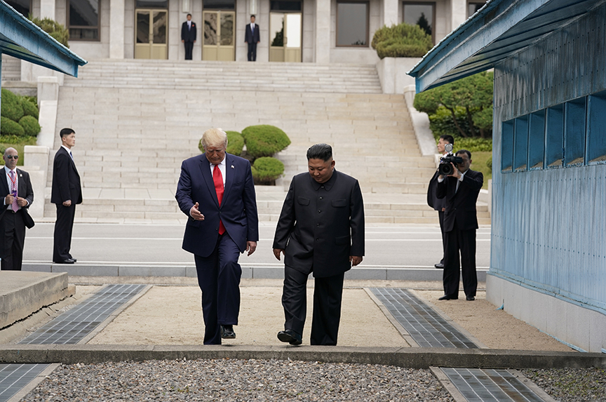 With one small step, Trump makes history in North Korea