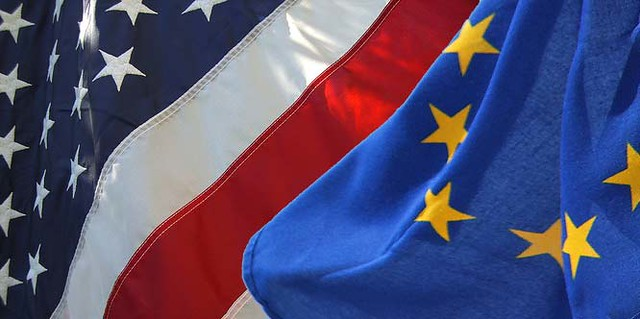 American and EU flags