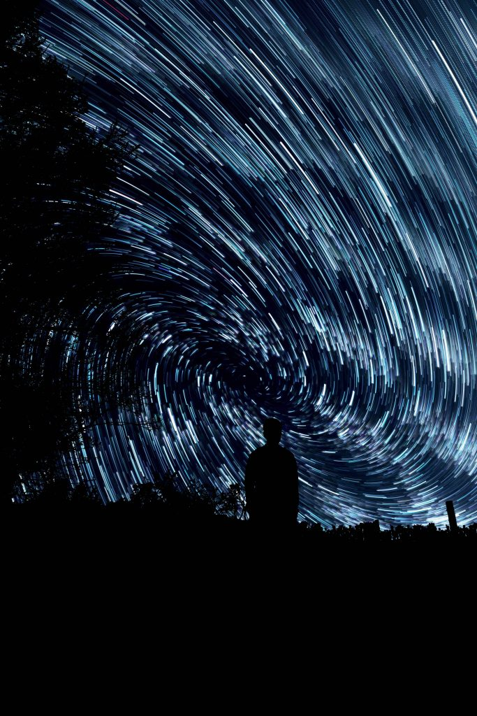 swirling stars like data around a person