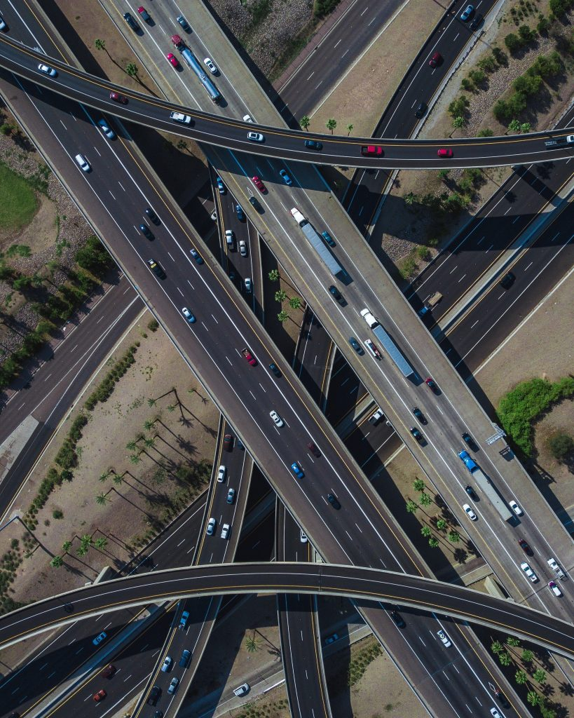 gtc view of highway traffic and infrastructure from above